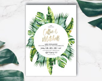 Tropical engagement invitation, engagement party invitation, engagement party, engagement invite, palm, gold, wreath, green, luau (Calypso)