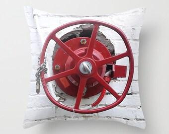 Photo Pillow Cover Decorative Red Valve Pillow Rustic Pillow Urban Pillow