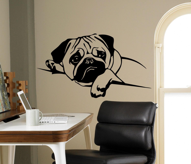 Puppy Pug Dog Wall Decal Pet Vinyl Sticker Cute Animals Home
