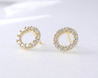 14K Solid Gold Dot Stud Earrings, 14K Small Studs, 14K Minimalist Earrings, 14K Circle Studs, Minimalist Earrings, 14K Simple Studs
