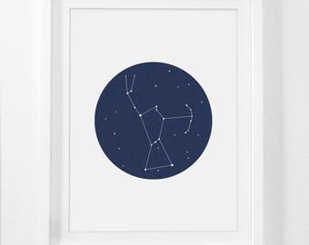 Orion, Constellation, Orion Art Print, Blue Nursery, Constellation Print, Orion Constellation, Navy Nursery, Navy Blue, Digital Nursery Art
