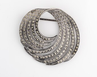 Vintage Sterling Silver & Marcasite Swirled Brooch Pin, VJ #360
