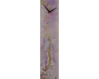 Lilac and Gold Wall Clock Modern Wall Decor Glass Wall Art Abstract Art Modern Wall Clock Modern Wall Decor Lilac Clock Modern Accessories