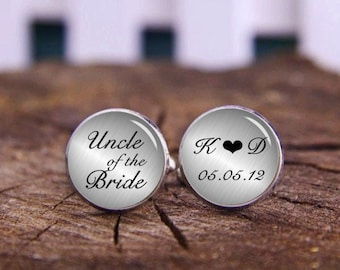 Uncle Of The Bride Cufflinks, Custom Uncle Cuff Links & Tie Clip, Personalized Cufflinks, Uncle Cufflinks, Uncle's Little Girl, Wedding Gift
