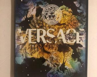 Versace bloom art print with borderless frame