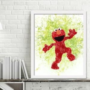 Elmo Watercolor Wall Art, Watercolor Elmo Print, Sesame Street Nursery Decor, Elmo Birthday Party Decor