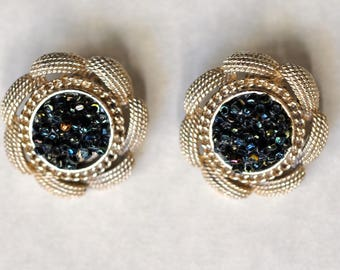 Vintage Costume Jewelry Earrings Silver Tone with Metallic Beads