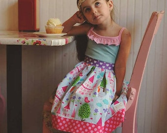 Homegrown Tank Top and Dress PDF Sewing Pattern, including sizes 12 months-14 years, Girls Dress Pattern, Knit Woven Sewing Pattern,