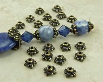 20 TierraCast 5mm Small Leaf Bead Caps - Brass Ox Plated Lead Free Pewter - I ship Internationally 5570