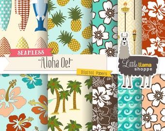 Summer Digital Paper, Seamless Beach Digital Paper, Tropical Digital Paper Hawaiian Digital Paper Hibiscus Surfboard Pineapple