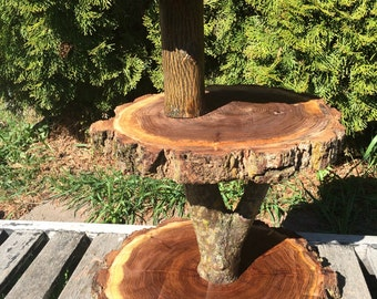 Large Log Elm Wood Rustic Cake Cupcake Stand Wedding party shower wooden 3 tiered, lumberjack party, boho, wild things are, live edge round