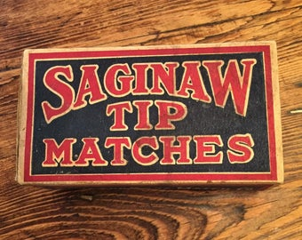 Saginaw Tip Matches - Large Vintage Advertising Box of Full of Stick Matches for the home. Sommers Bros. Match Co. Chicago