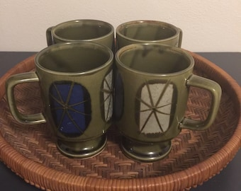 Vintage coffee mugs, retro mugs, mid century mugs