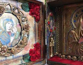 RESERVED - Our Lady of Perpetual Help Assemblage Collage Mixed-Media Home Altar Cigar Box Shrine