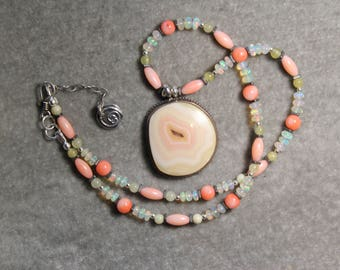 Moctezuma agate from Mexico with welo opals, coral and quartz on sterling silver necklace and earrings set by EvyDaywear