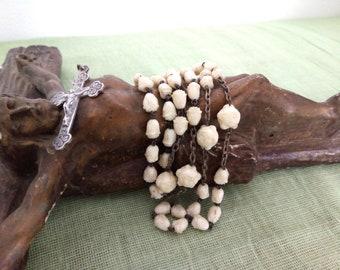 White Rosary, Rosebud Rosary, Chapelet, Vintage, Pretty Rosary, Catholic Dress