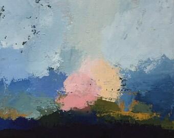 abstract landscape painting palette knife painting contemporary design blue art pamela munger