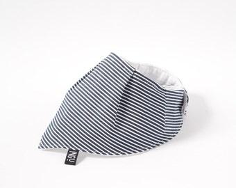 Striped denim bandana bib