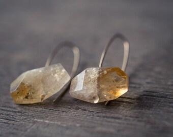 Modern Simple Citrine Earrings 14K Goldfilled Hook earrings Organic Minimalist design sparkling honey yellow