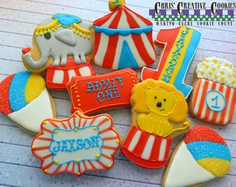 Happy Birthday Circus Set of Sugar Cookies!    One dozen (12) Custom Decorated cookies