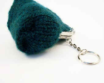 Coin Purse, Hand Knitted, Keyring, Snap Frame Green - HALF PRICE