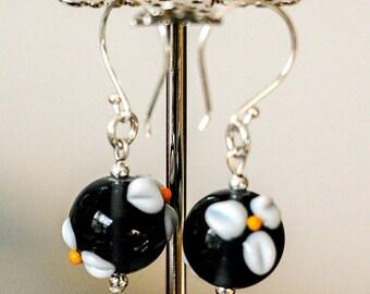 Navy Lampwork Flower Earrings. Dark Montana Blue with White Lampwork Flowers Glass Earrings, Sterling Silver Earrings, Glass Earrings