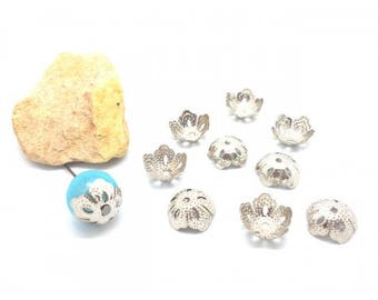50 caps filigree bead caps silver grey flowers 14x5mm