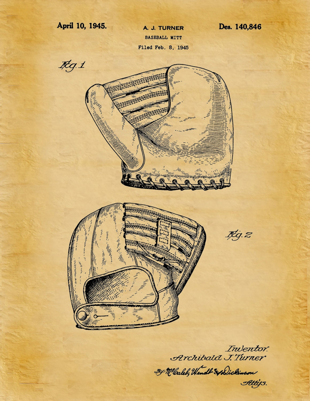 Patent 1945 Baseball Mitt - Art Print - Poster - Sports Art - Man ...