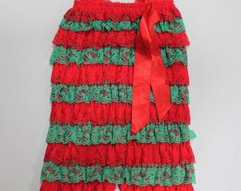 Red and Green Romper, Christmas Romper, Girls Romper