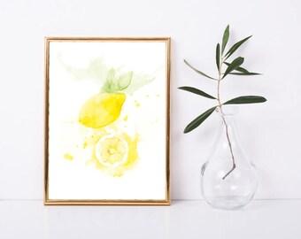 Art print, Kitchen print • lemon • food print • watercolour olive illustration, Mediterranean kitchen accessory