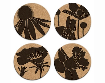 CONEFLOWER WILDFLOWERS Floral Design Round Cork Coasters Hostess Gift Home Decor