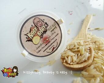 Natural 100%(Hom mali Thai rice)Jasmine gaba gaba rice face mask and scrub 2 in 1 - 18 g.