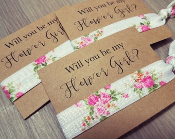 Will You Be My Flower Girl? | Bachelorette Party Favors | Wedding Favors | Floral Hair Tie Favors | Flower Hair Tie Favors