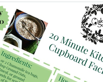 Make your own 20 minute Kitchen Cupboard natural Facial at home, Instant digital Downloadable PDF recipe.
