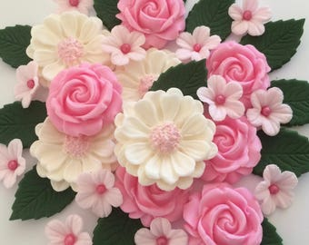 CANDY PINK ROSE bouquet edible sugar paste flowers cake cupcake decorations