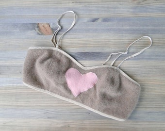 Cashmere bralette in tan with pink heart, organic lingerie, custom made clothing