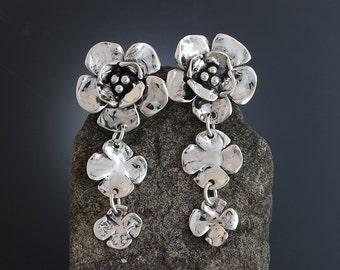 Sterling Silver Dogwood Earrings - Large Dogwood - Flower Post Earrings - Dogwood Jewelry - Dramatic - Large Post Earrings - Sherry Tinsman