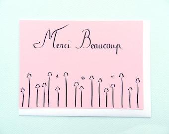 Merci beaucoup flowers/Mille fleurs pour toi - hand-drawn card by Pauline Rousseau