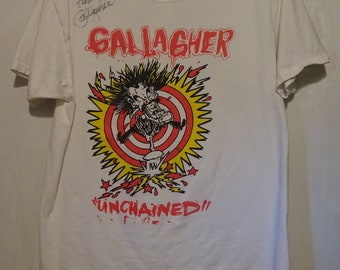 Signed Vintage Comedian Gallagher Unchained T shirt Adult Large