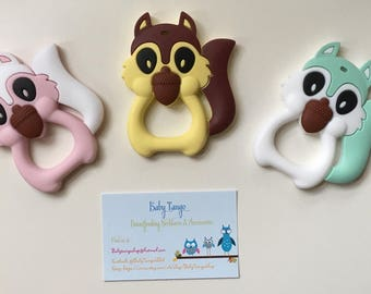 Large Squirrle Teethers * Silicone Teether* 100%food Grade silicone, BPA FREE