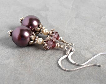 Burgundy Swarovski Pearl Dangle Earrings with Sterling Silver Hooks and Swarovksi Crystals, Bridesmaid Earrings, Faux Pearl Earrings
