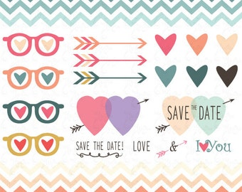 Wedding Clipart Design,Valentines Day,Valentine's clipart, Love,Hearts,Pink,Chevron,invitation card Wd010 Personal and Commercial Use.