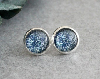 Dark Blue Stud Earrings, Blue Earrings, Blue Post Earrings, Navy Blue Stud Earrings, Navy Blue Earring, Modern Earring, Silver Stud Earrings
