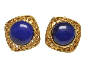 Lapis Lazuli Gold Filigree Earrings