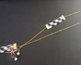 Fabric and Golden Charms Necklace