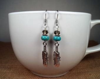 Silver Howlite Turquoise Smokey Topaz Feather Bohemian Statement Dangle Earrings