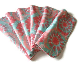 Cloth Baby Wipes Set of 6 2 Ply Flannel Basic Diaper Wipes, Tie Dye Reusable Family Cloth