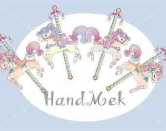 Carousel set clipart ,Cute Carousel Horse Ride Clip Art , merry go round clip art Set , PNG file -300 dpi