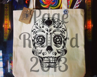 Day of the Dead Sugar Skull Tote Bag Natural Canvas