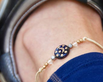 Celestial anklet,moon and stars anklet,string anklet,friendship anklet,boho anklet,beach anklet,string bracelet